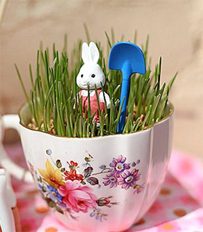 пасхальные украшения: трава в чашке - paskhalnye ukrasheniya: trava v chashke