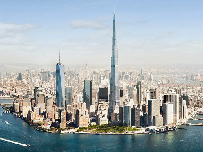 вид на небоскрёб Бурдж-Халифа и Дубай - vid na neboskryob Burj Khalifa i Dubai