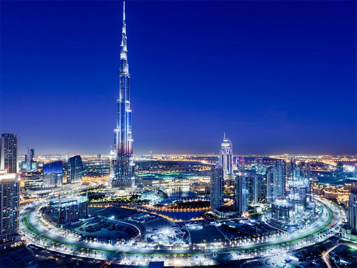 башня Бурдж-Халифа ночью - bashnya Burj Khalifa nochyu